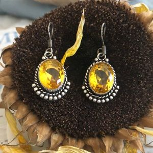 Citrine Ethnic 925 Silver Earrings-Handmade